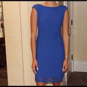 Cobalt Blue Ralph Lauren Lace Bateau Neck Dress